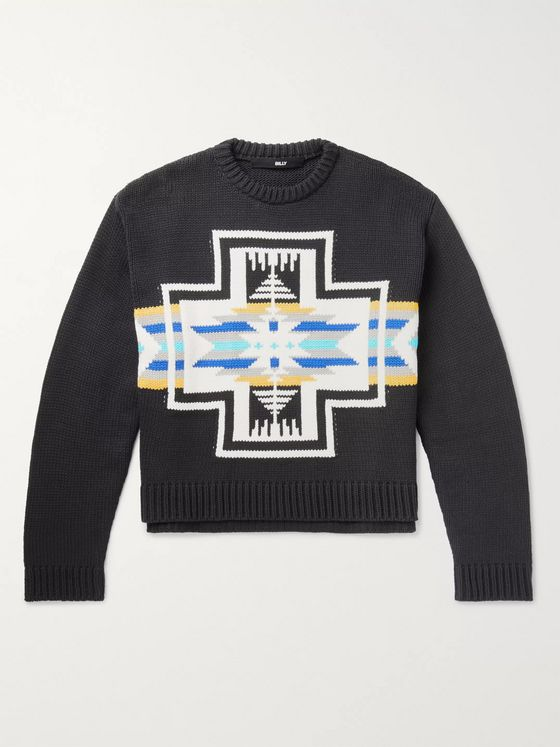 BILLY Cotton-Blend Jacquard Sweater