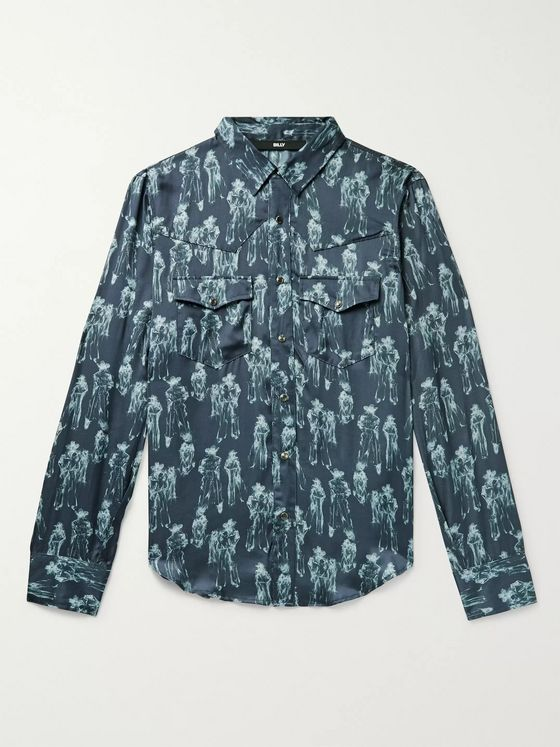 BILLY Slim-Fit Printed Satin Western Shirt