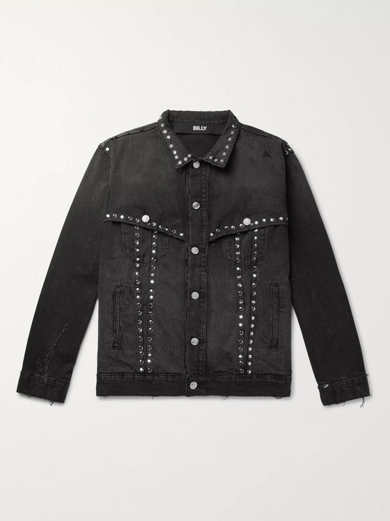 BILLY Studded Distressed Denim Jacket