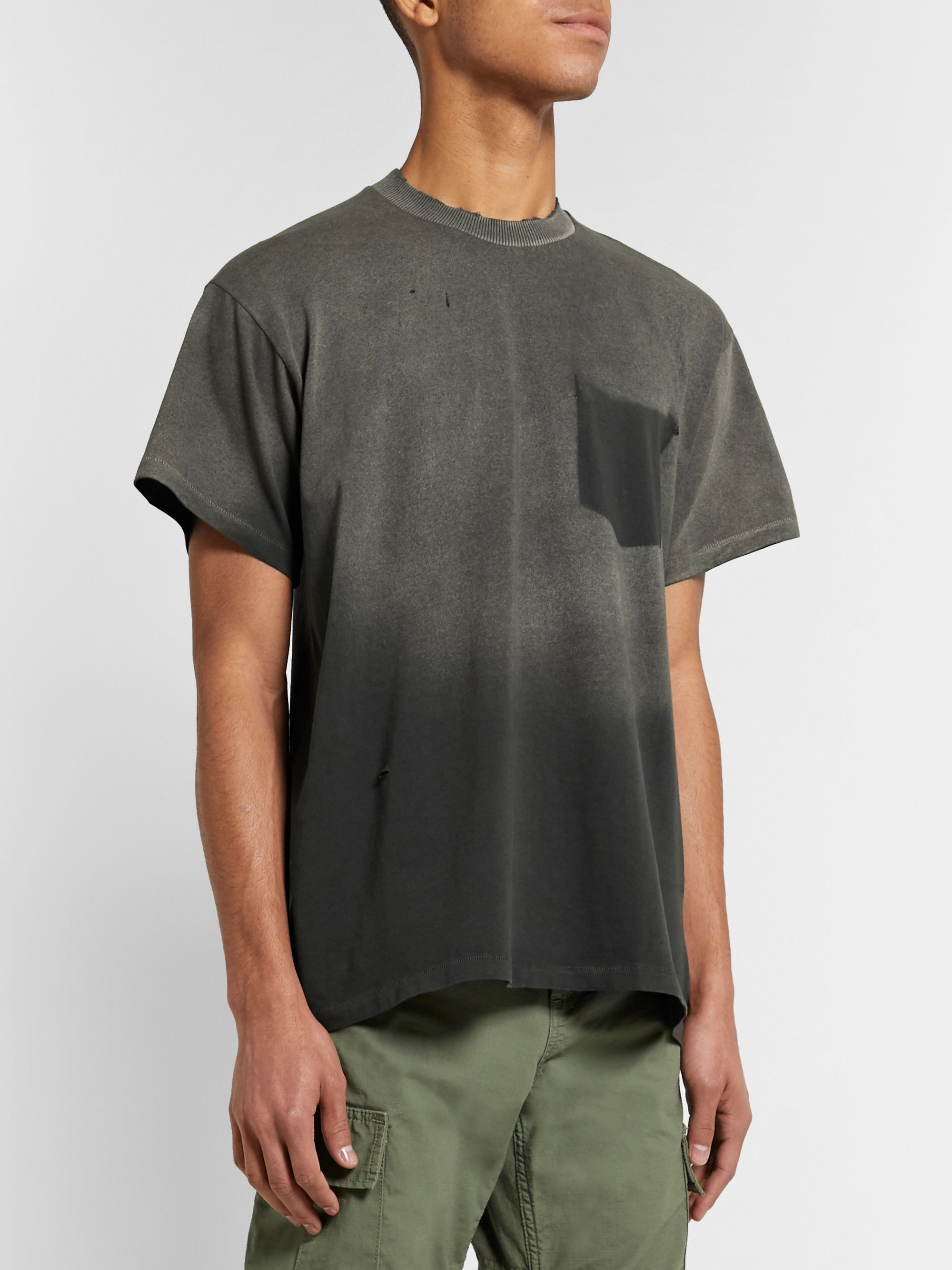 BILLY Marshall Distressed Bleached Cotton-Jersey T-Shirt