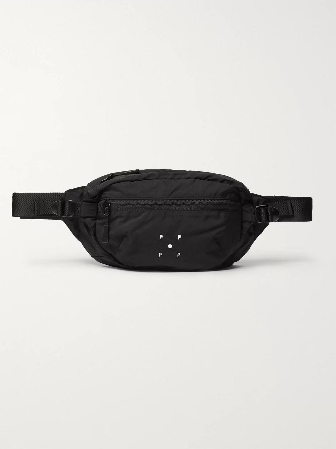 Pop Trading Company Logo-embroidered Nylon Belt Bag In Black