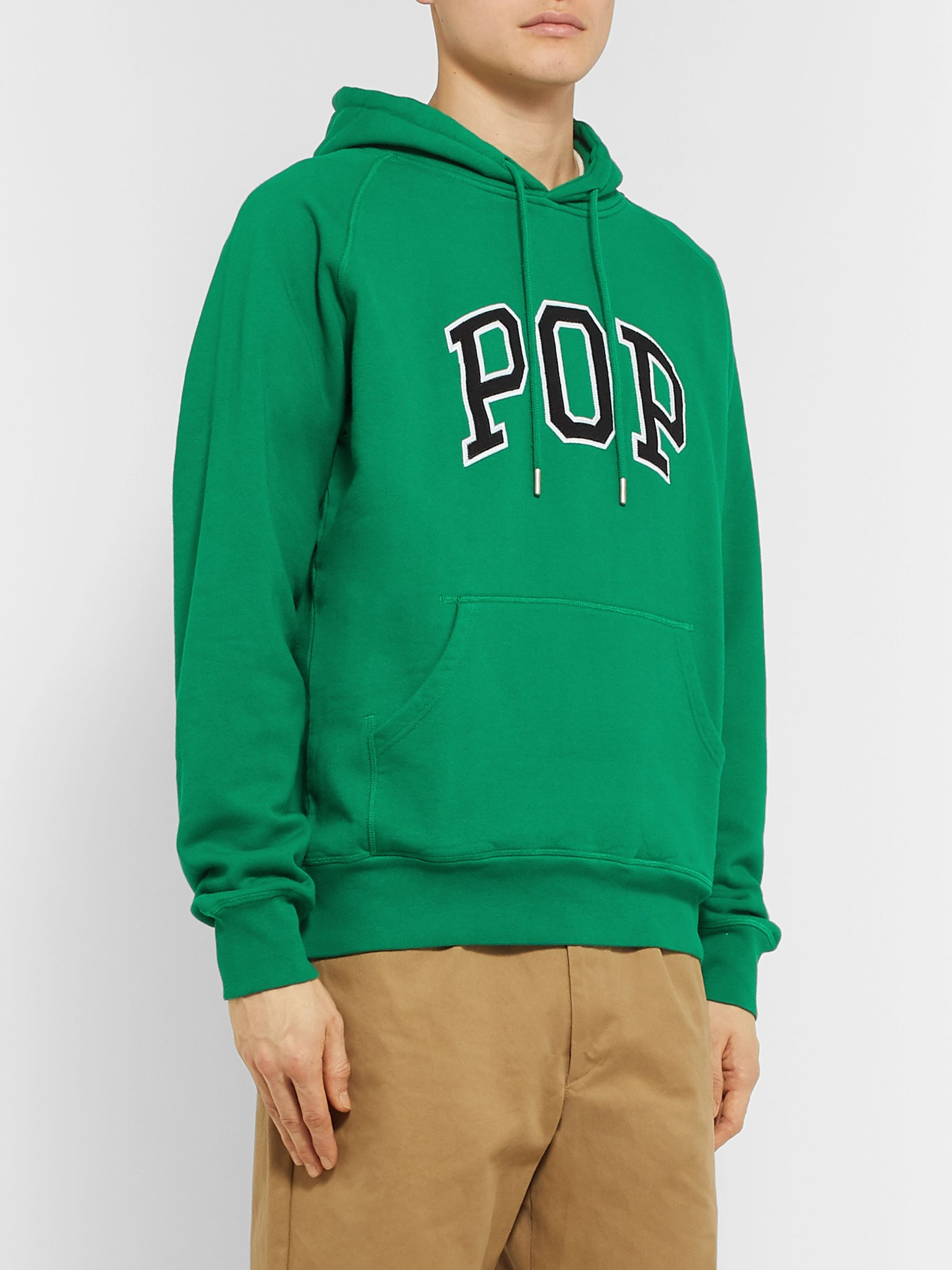 Pop Trading Company Arch Logo-Appliquéd Fleece-Back Cotton-Jersey Hoodie