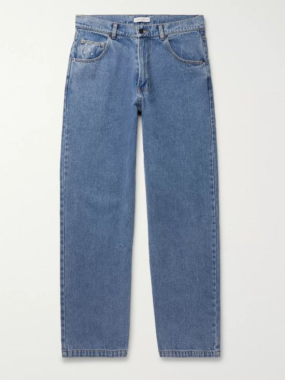 Pop Trading Company Wide-Leg Stonewashed Denim Jeans