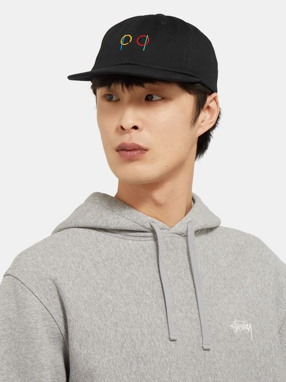 Pop Trading Company Logo-Embroidered Leather-Trimmed Cotton-Twill Baseball Cap