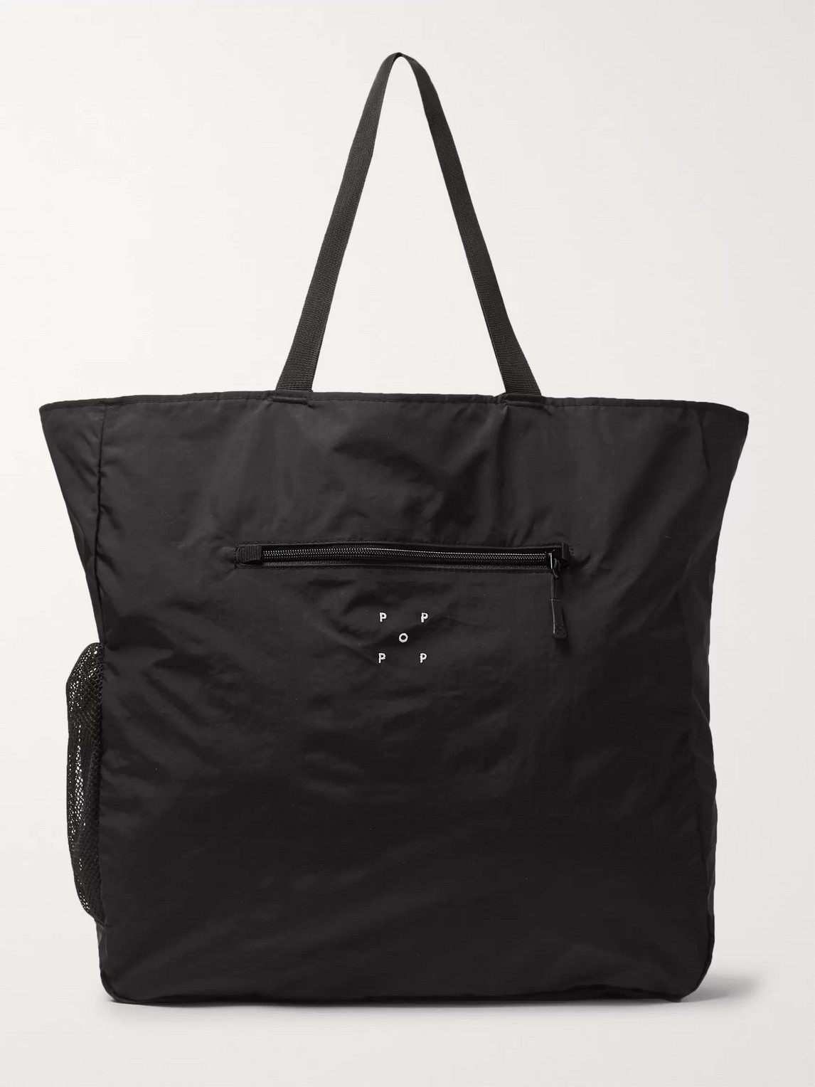 Pop Trading Company Packable Logo-embroidered Nylon Tote In Black