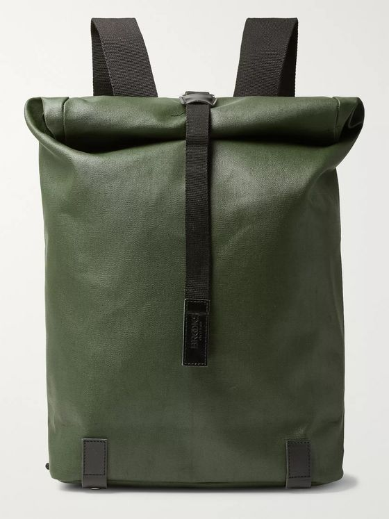 Brooks England Pickwick Large Leather-Trimmed Coated Cotton-Canvas Backpack