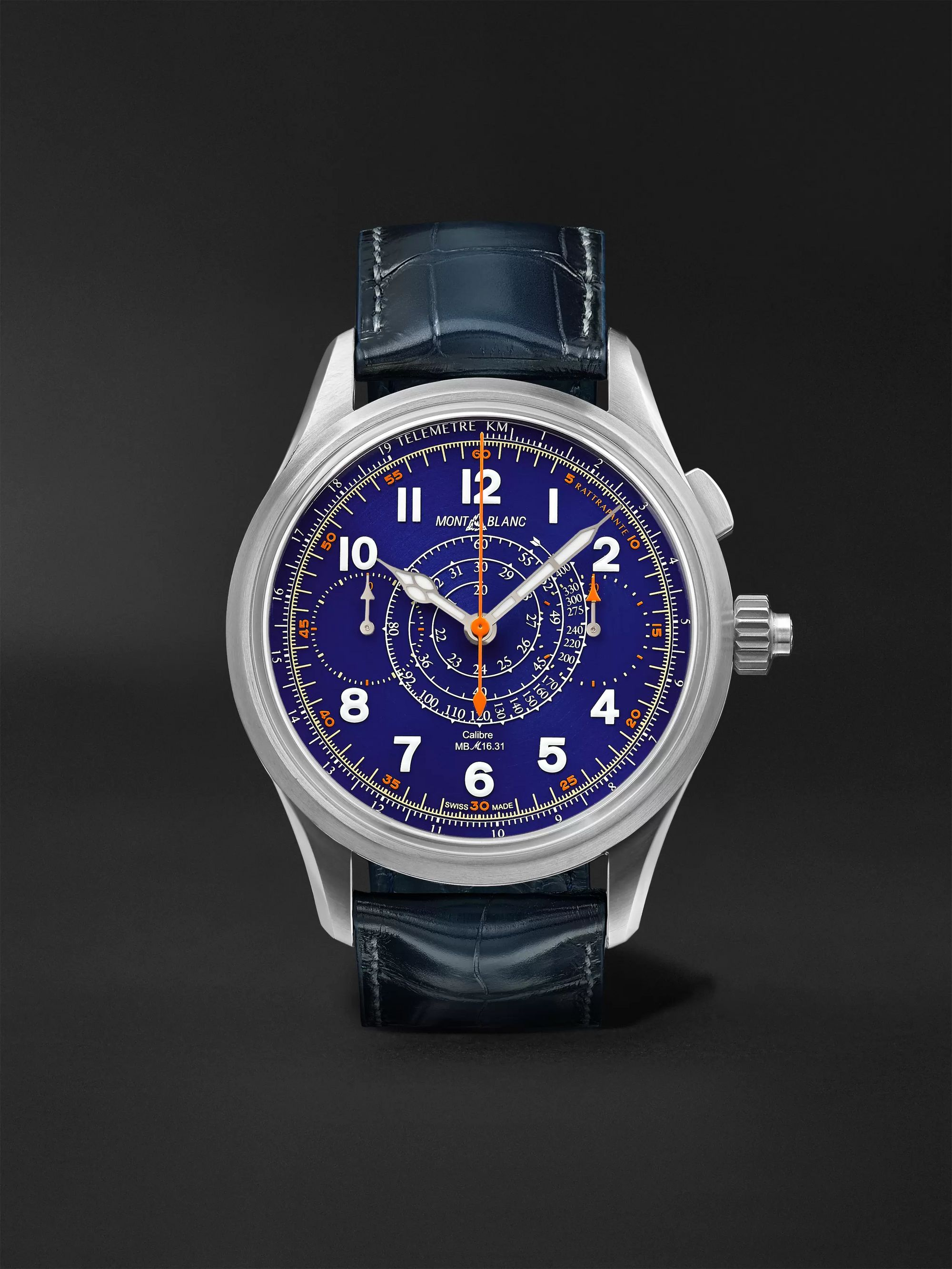 MONTBLANC 1858 Limited Edition Hand-Wound Split Second Chronograph 44mm Titanium and Alligator Watch, Ref. No. 126006