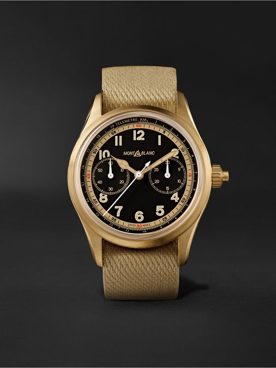 Montblanc 1858 Monopusher Automatic Chronograph 42mm Bronze and NATO Watch, Ref. No. 125583