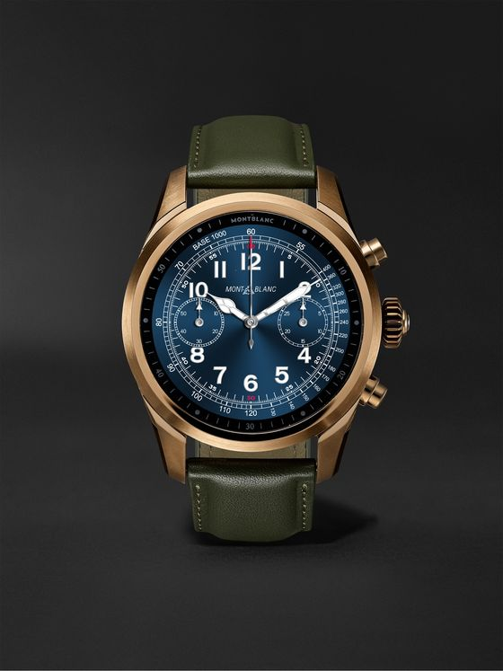 Montblanc Summit 2+ 43.5mm PVD-Coated Stainless Steel and Leather Smart Watch, Ref. No. 127679