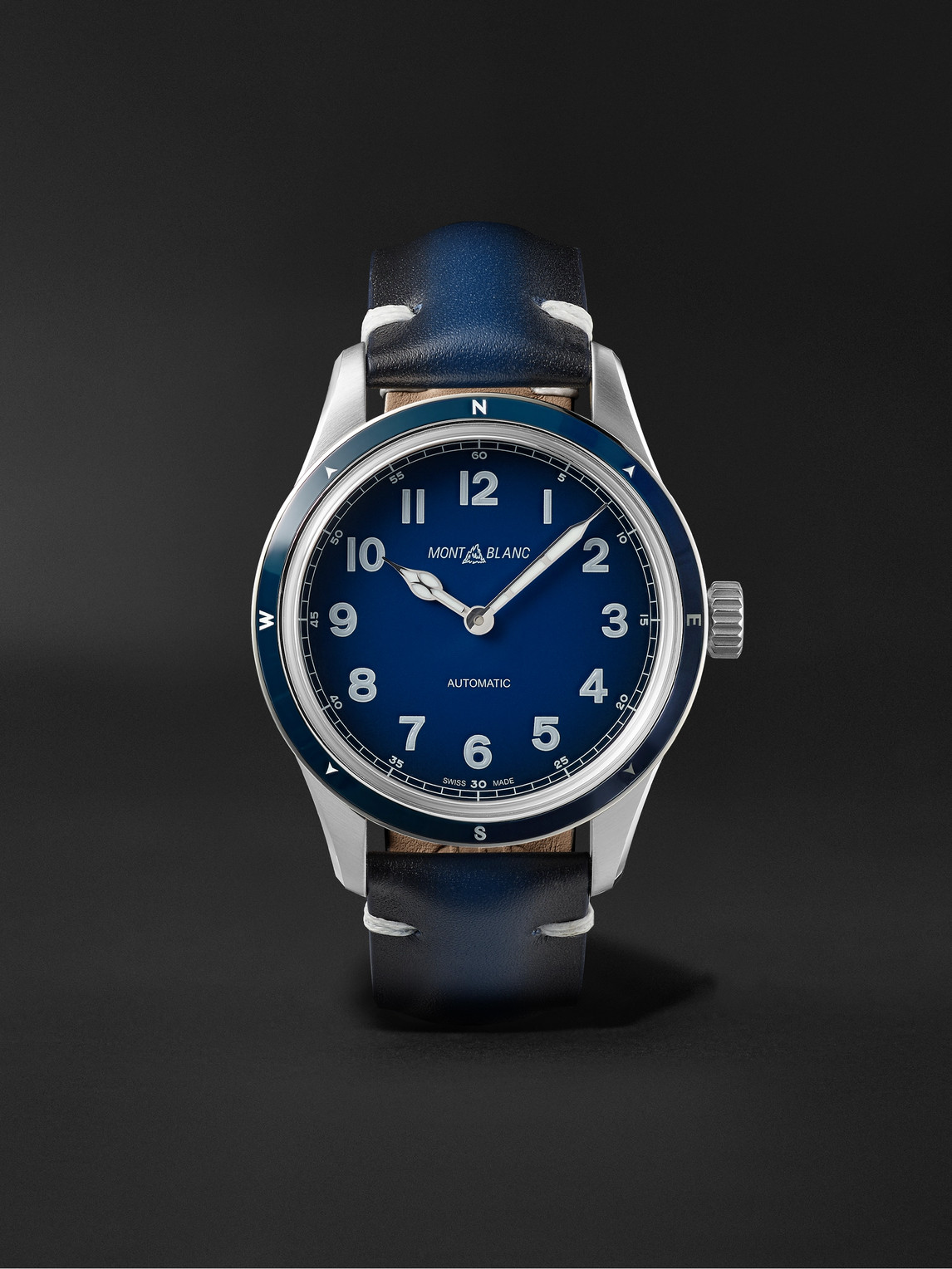 Montblanc 1858 Automatic 40mm Stainless Steel And Leather Watch, Ref. No. 126758 In Blue