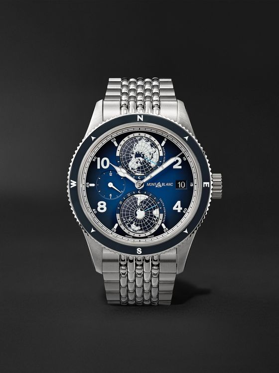MONTBLANC 1858 Geosphere Automatic GMT 42mm Titanium and Stainless Steel Watch, Ref. No. 125567