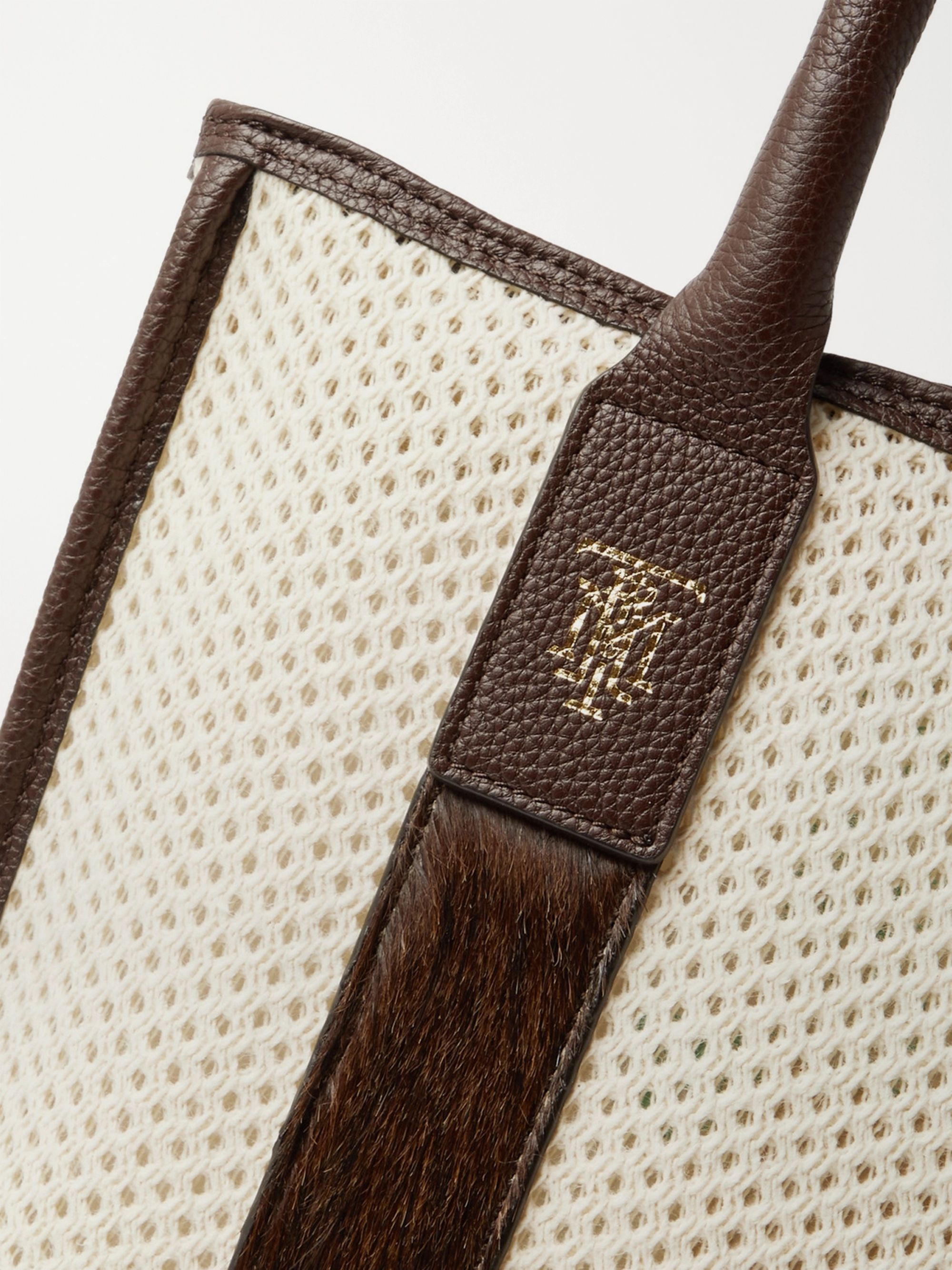 MONTROI Elektra Leather and Camel Hair-Trimmed Mesh Tote Bag