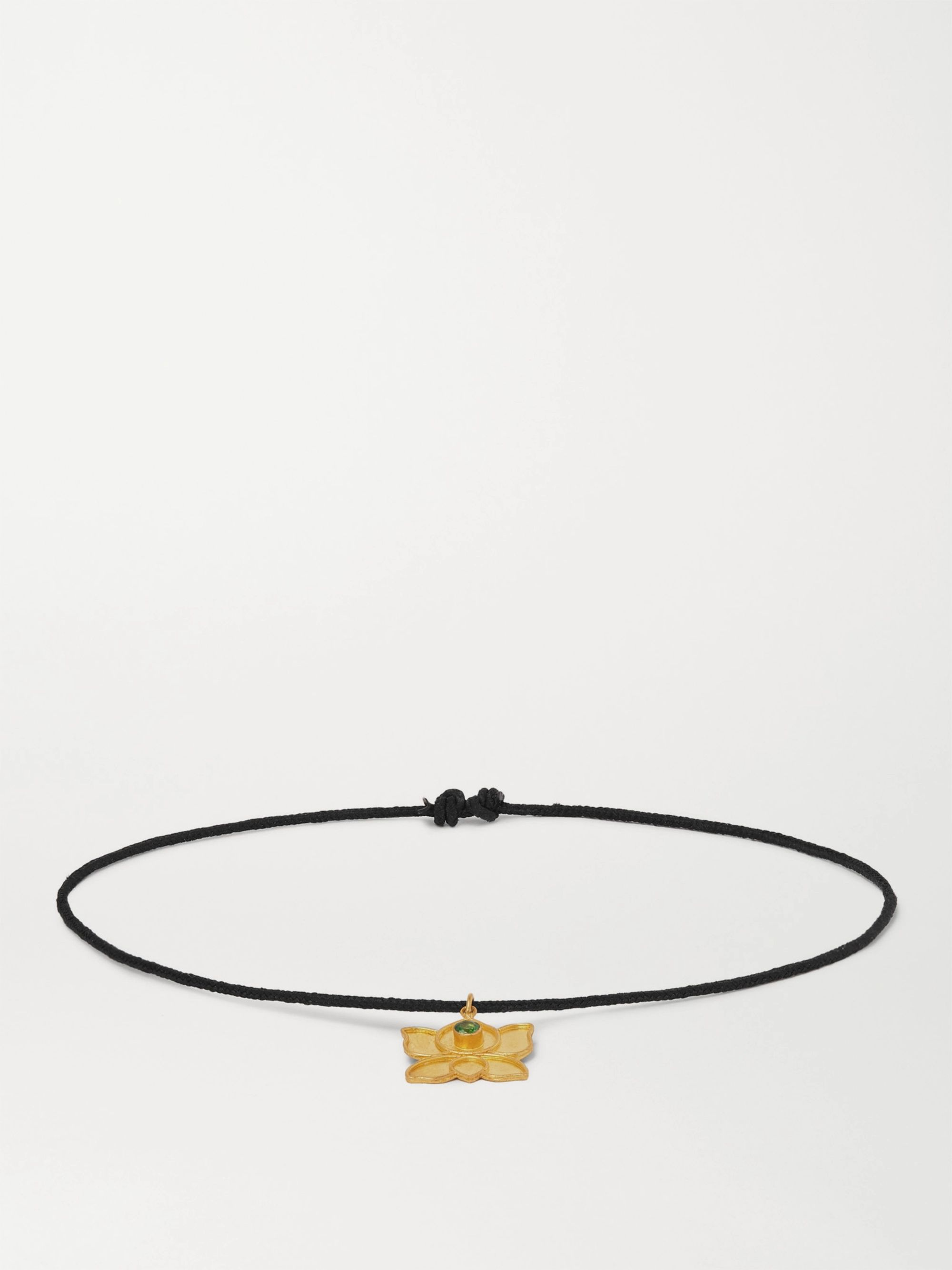 MONTROI Crystal Gold and Silk-Cord Bracelet,Black
