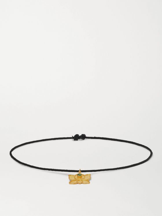 MONTROI Crystal, Gold and Silk-Cord Bracelet