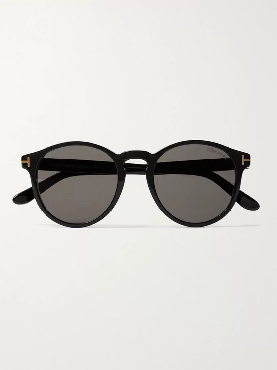 TOM FORD Ian Round-Frame Acetate and Gold-Tone Sunglasses