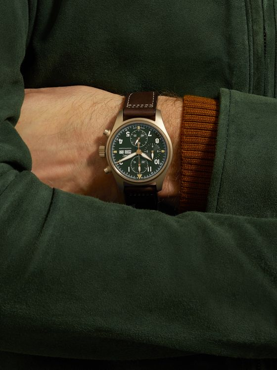 IWC SCHAFFHAUSEN Pilot's Spitfire Automatic Chronograph 41mm Bronze and Leather Watch, Ref. No. IW387902
