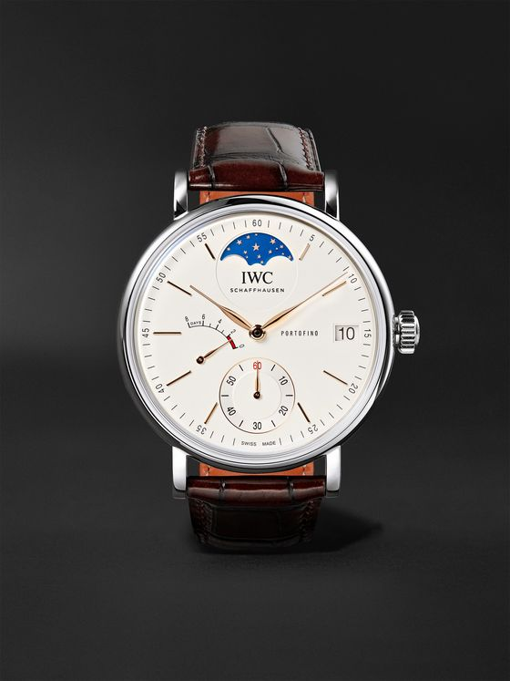 IWC SCHAFFHAUSEN Portofino Hand-Wound Moon Phase 45mm Stainless Steel and Alligator Watch, Ref. No. IW516401