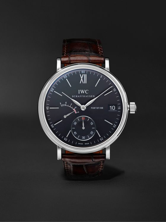 IWC SCHAFFHAUSEN Portofino Hand-Wound Eight Days 45mm Stainless Steel and Alligator Watch
