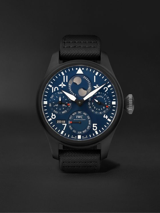 IWC SCHAFFHAUSEN Big Pilot's Perpetual Calendar Rodeo Drive Automatic Perpetual Calendar 46.5mm Ceramic, Titanium and Leather Watch, Ref. No. IW503001