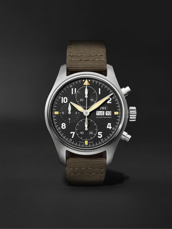 IWC SCHAFFHAUSEN Pilot's Spitfire Automatic Chronograph 41mm Stainless Steel and Webbing Watch, Ref. No. IW387901