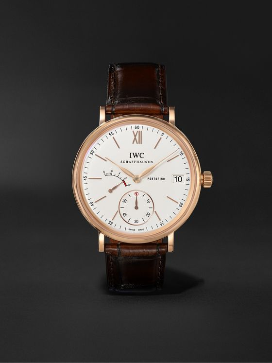 IWC SCHAFFHAUSEN Portofino Hand-Wound Eight Days 45mm 18-Karat Rose Gold and Alligator Watch