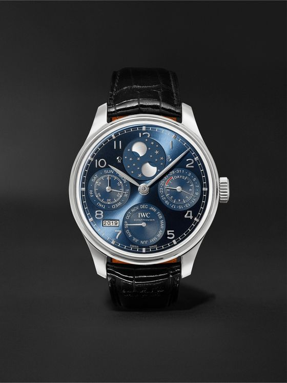 IWC SCHAFFHAUSEN Portugieser Perpetual Calendar Automatic 44.2mm 18-Karat White Gold and Alligator Watch