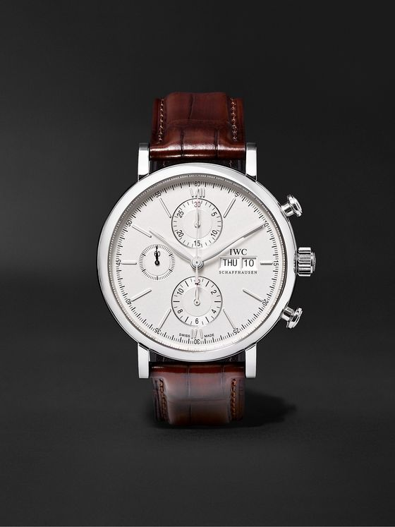 IWC SCHAFFHAUSEN Portofino Automatic Chronograph 42mm Stainless Steel and Alligator Watch, Ref. No. IW391027