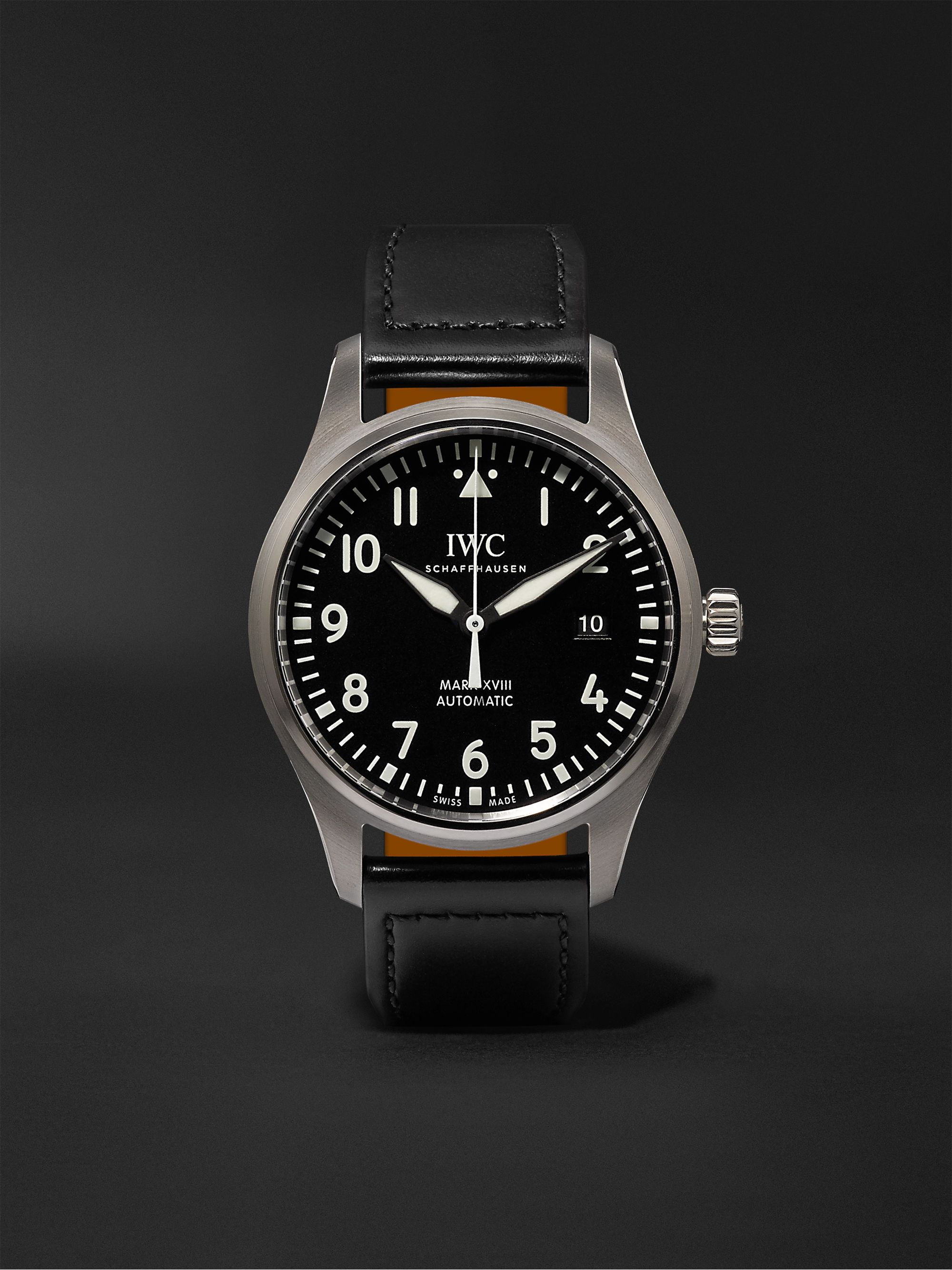 IWC SCHAFFHAUSEN Pilot's Mark XVIII Automatic 40mm Stainless Steel and Leather Watch, Ref. No. IW327009