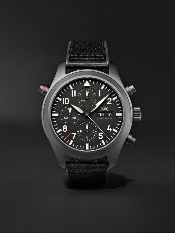 IWC SCHAFFHAUSEN Pilot's TOP GUN Automatic Double Chronograph 44mm Ceratanium and Rubber Watch, Ref. No. IW371815