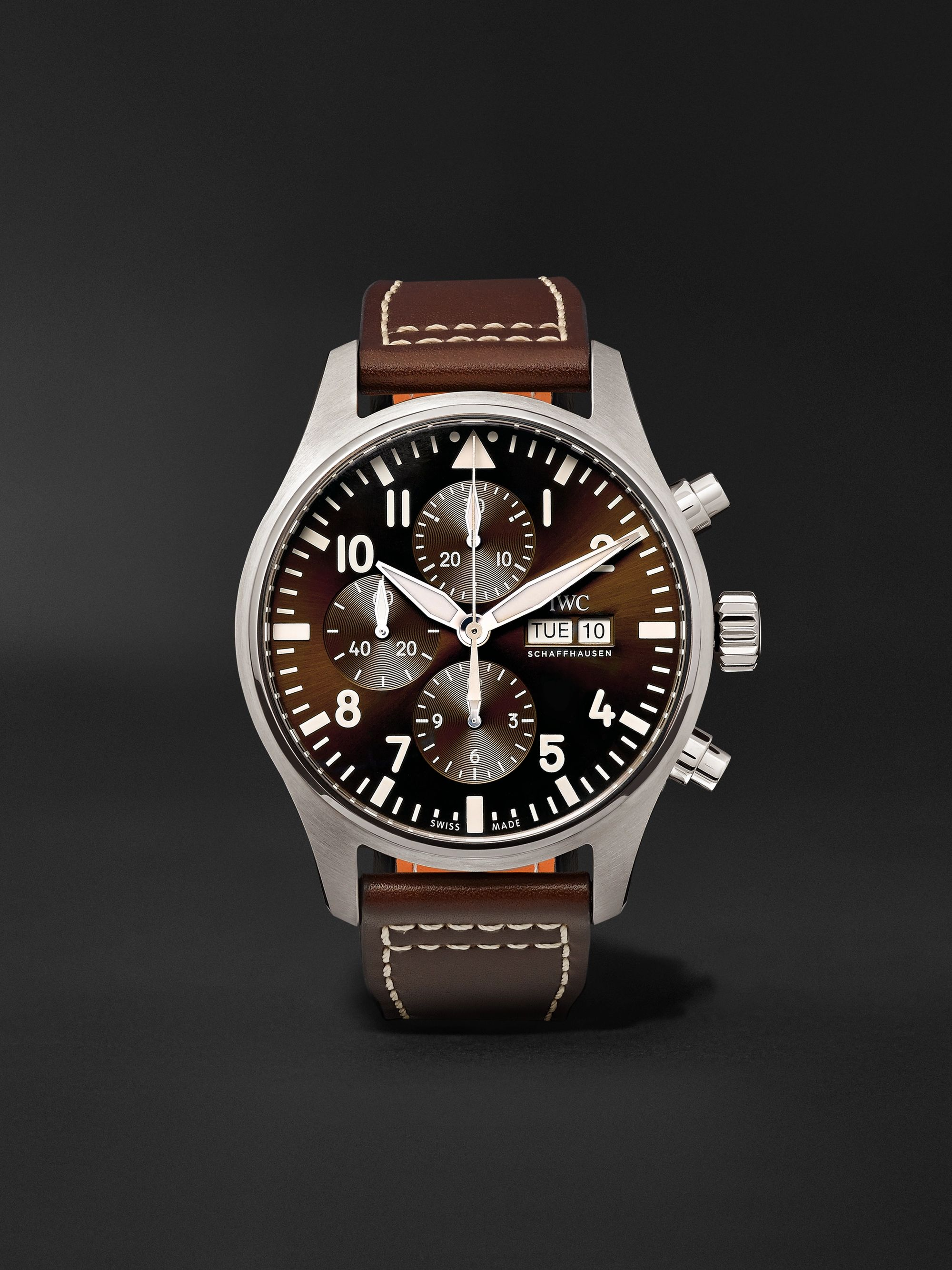 IWC SCHAFFHAUSEN Pilot's Antoine de Saint Exupéry Edition Automatic Chronograph 43mm Stainless Steel and Leather Watch
