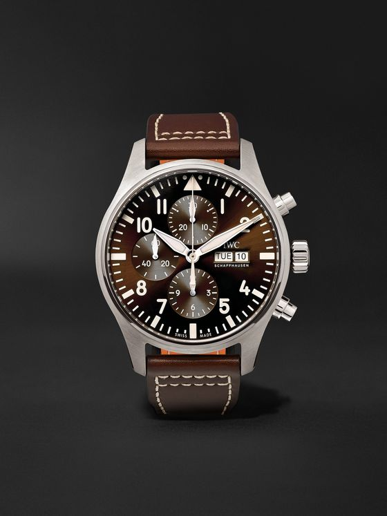 IWC SCHAFFHAUSEN Pilot's Antoine de Saint-Exupéry Edition Automatic Chronograph 43mm Stainless Steel and Leather Watch, Ref. No. IW377713