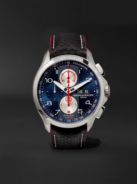 Baume & Mercier Clifton Club Shelby Cobra Automatic Chronograph 44mm Stainless Steel and Leather Watch, Ref. No. 10343