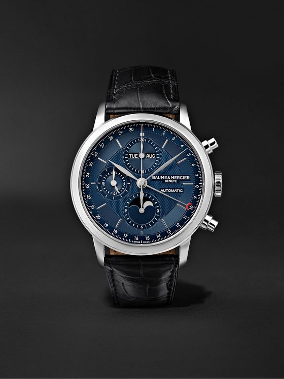 Baume & Mercier Classima Automatic Moon-Phase Calendar Chronograph 42mm Stainless Steel and Alligator Watch, Ref. No. M0A10484
