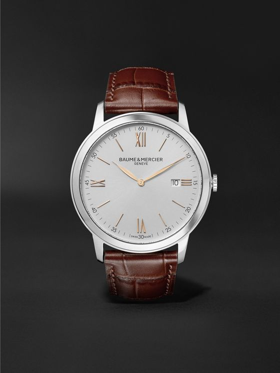 BAUME & MERCIER Classima 42mm Stainless Steel and Croc-Effect Leather Watch, Ref. No. 10415