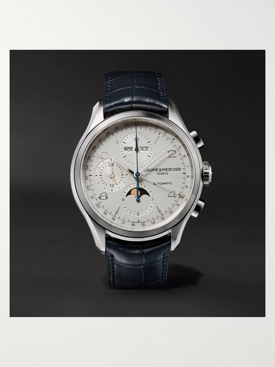 BAUME & MERCIER Clifton Automatic Calendar Moon-Phase Chronograph 43mm Stainless Steel and Alligator Watch, Ref. No. 10408