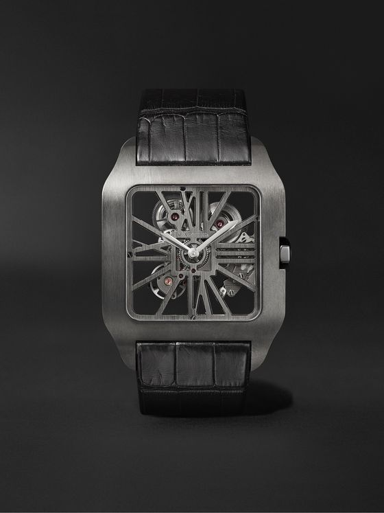 CARTIER Santos-Dumont Skeleton Hand-Wound 43.3mm ADLC-Coated Titanium and Alligator Watch