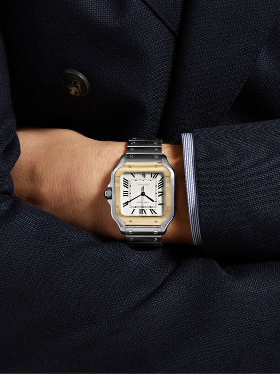 CARTIER Santos Automatic 39.8mm 18-Karat Gold Interchangeable Stainless Steel and Leather Watch, Ref. No. W2SA0006