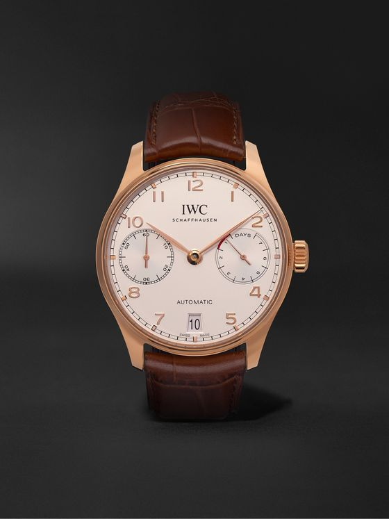 IWC SCHAFFHAUSEN Portugieser Automatic 42mm 18-Karat Red Gold and Alligator Watch