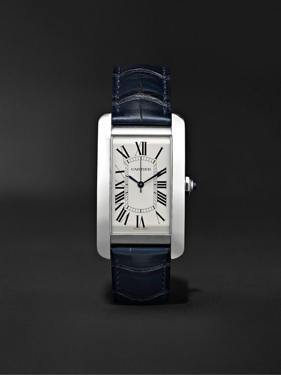 CARTIER Tank Américaine Automatic 45mm Steel and Alligator Watch, Ref. No. CRWSTA0018