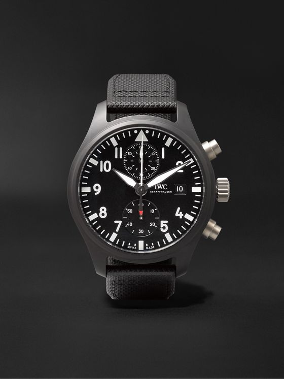 IWC SCHAFFHAUSEN Pilot's TOP GUN Automatic Chronograph 44mm Ceramic and Leather Watch, Ref. No. IW389001