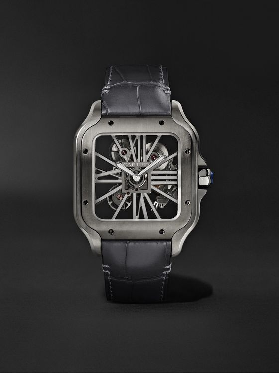 CARTIER Santos de Cartier Skeleton Noctambule Hand-Wound 39.8mm ADLC-Coated Stainless Steel and Alligator Watch
