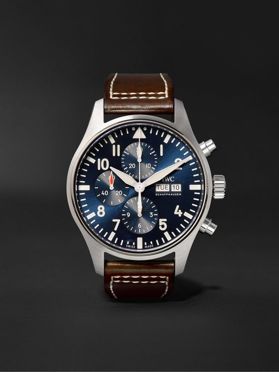 IWC SCHAFFHAUSEN Pilot's Le Petit Prince Edition Automatic Chronograph 43mm Stainless Steel and Leather Watch, Ref. No. IW377714
