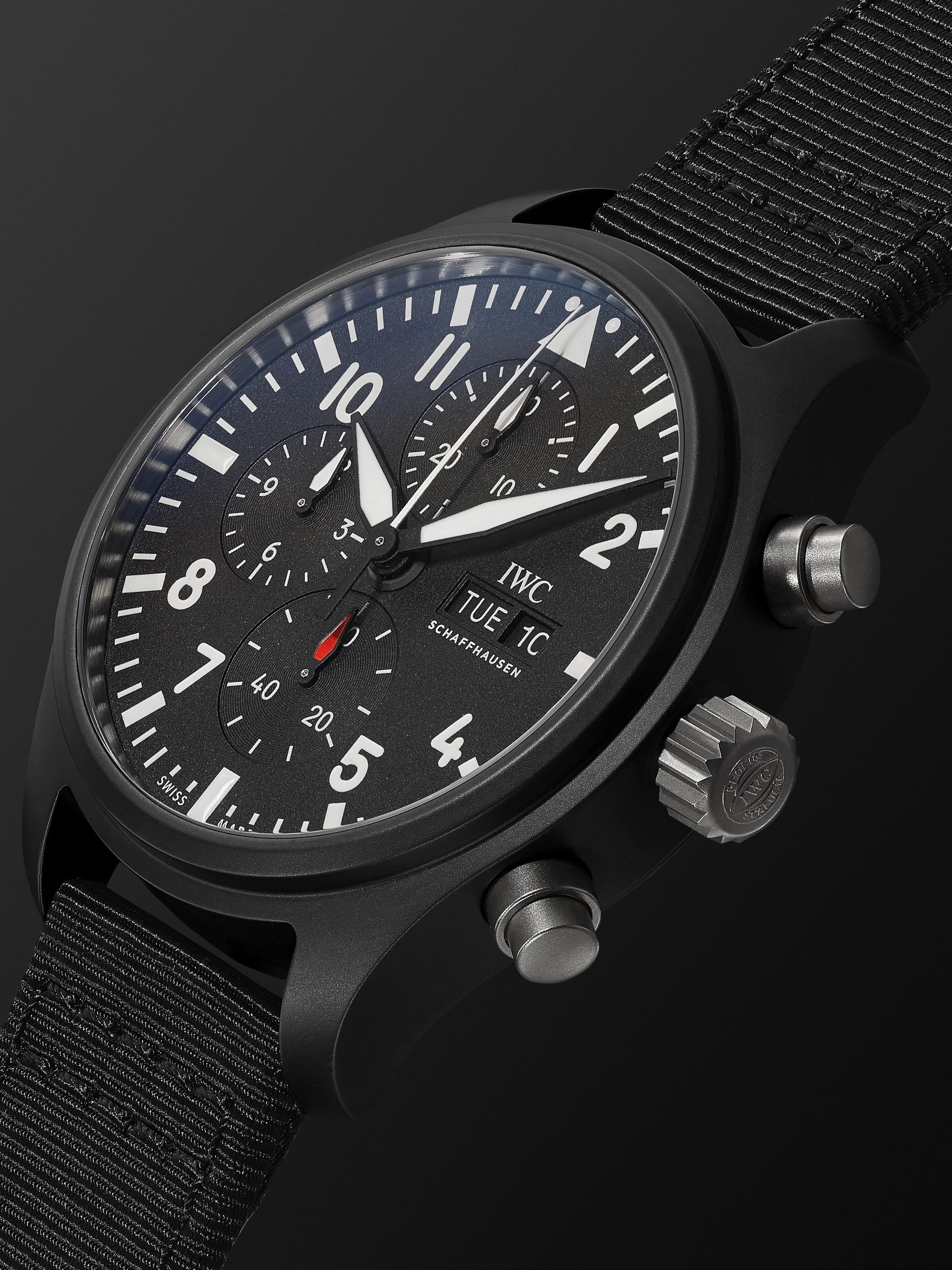 IWC SCHAFFHAUSEN Pilot's TOP GUN Automatic Chronograph 44.5mm Ceramic and Webbing Watch