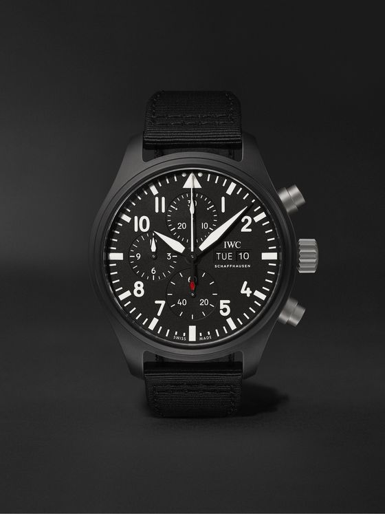 IWC SCHAFFHAUSEN Pilot's TOP GUN Automatic Chronograph 44.5mm Ceramic and Webbing Watch, Ref. No. 	IW389101