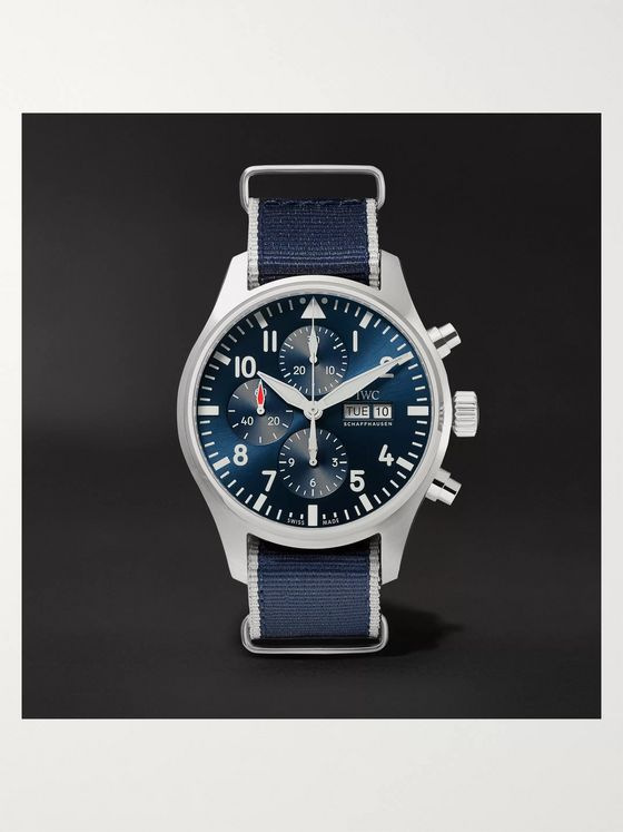 IWC SCHAFFHAUSEN Pilot's Le Petit Prince Chronograph 43mm Stainless Steel and Webbing Watch