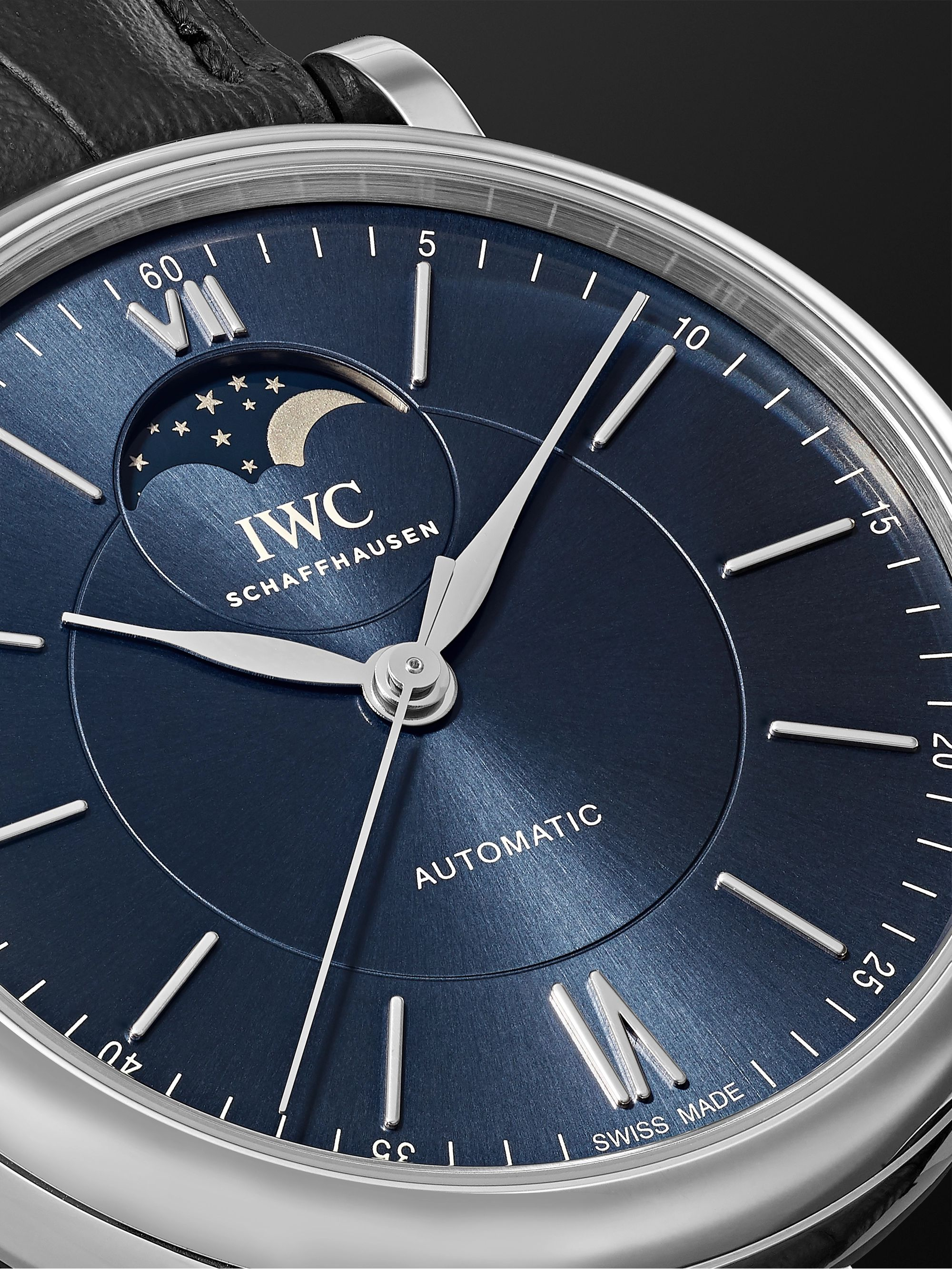 IWC SCHAFFHAUSEN Portofino Automatic Moon Phase 40mm Stainless Steel and Alligator Watch
