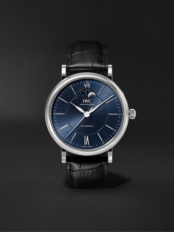IWC SCHAFFHAUSEN Portofino Automatic Moon Phase 40mm Stainless Steel and Alligator Watch, Ref. No. IW459402
