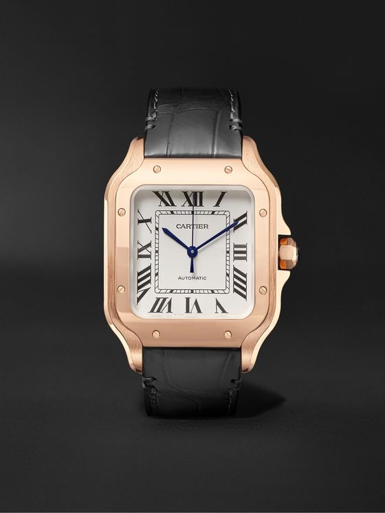 CARTIER Santos Automatic 35.1mm Rose Gold Interchangeable Alligator and Leather Watch, Ref. No. WGSA0012