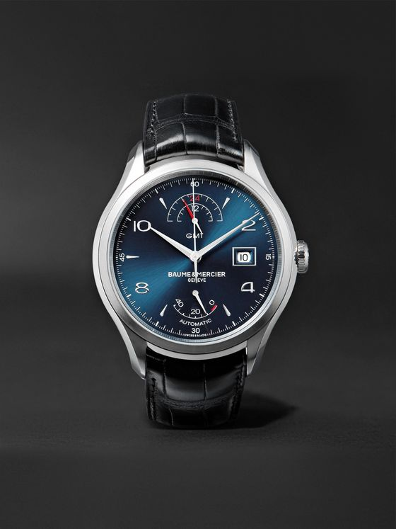 BAUME & MERCIER Clifton Automatic Dual Time Power Reserve 43mm Stainless Steel and Alligator Watch, Ref. No. 10316