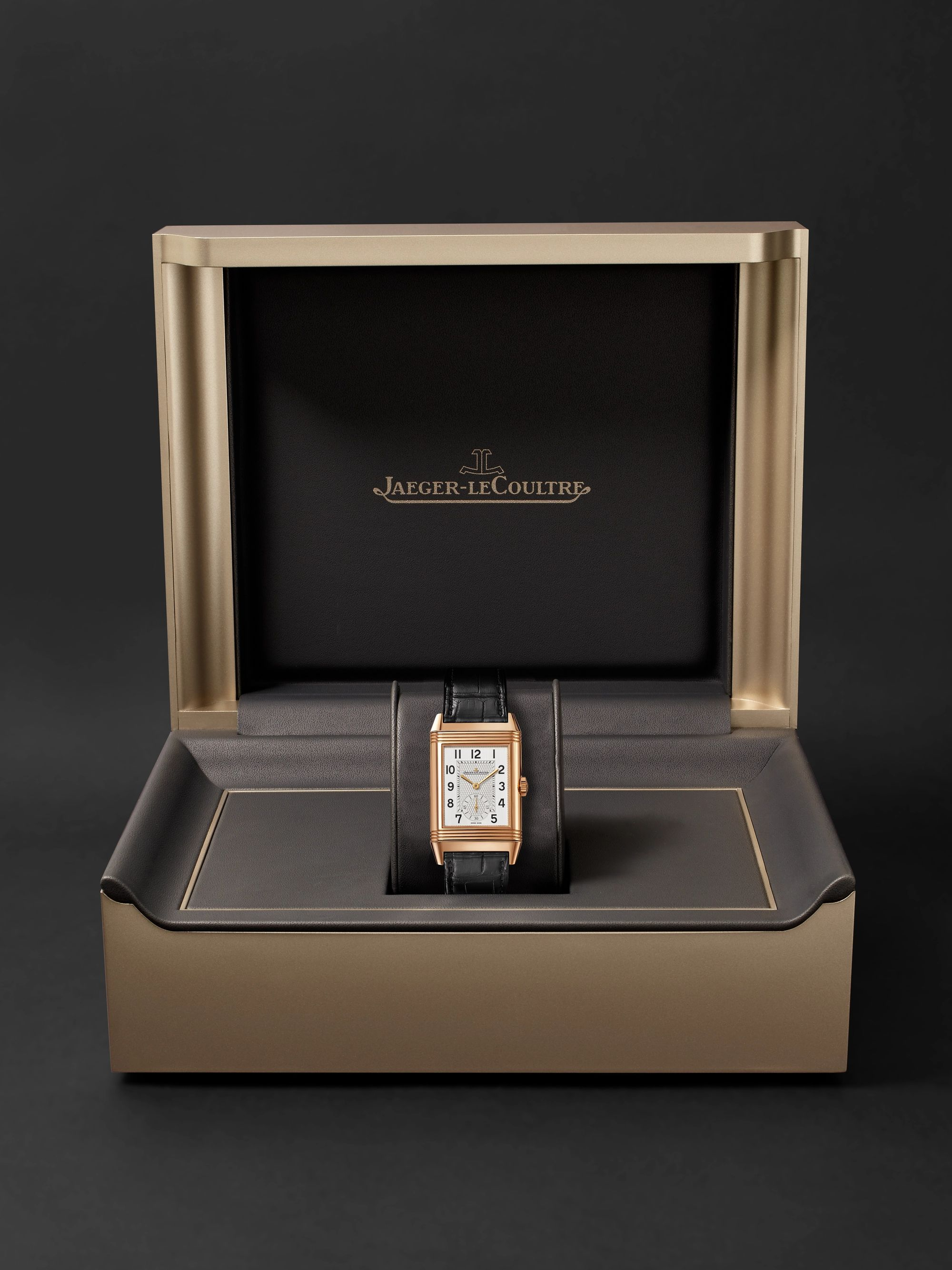 Jaeger-LeCoultre Reverso Classic Large Duoface Small Seconds Hand-Wound 28.3mm 18-Karat Rose Gold and Alligator Watch